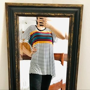 MAURICES 24/7 STRIPED LETTUCE TRIM TOP